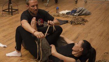 Workshop at Ecole des Cordes. Paris, France. Model: Denjamy Djovanny. Shibari by Mosafir. Photo: Alex DirtyVonP