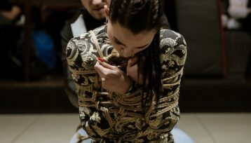 At Yugen shibari party. Mosafir and Denjamy Djovanny. Photo by Gestoor